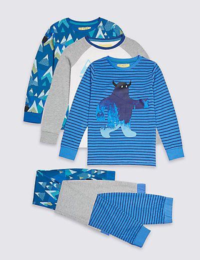 3 Pack Printed Pyjamas 3 16 Years Pyjamas Prints Fashion
