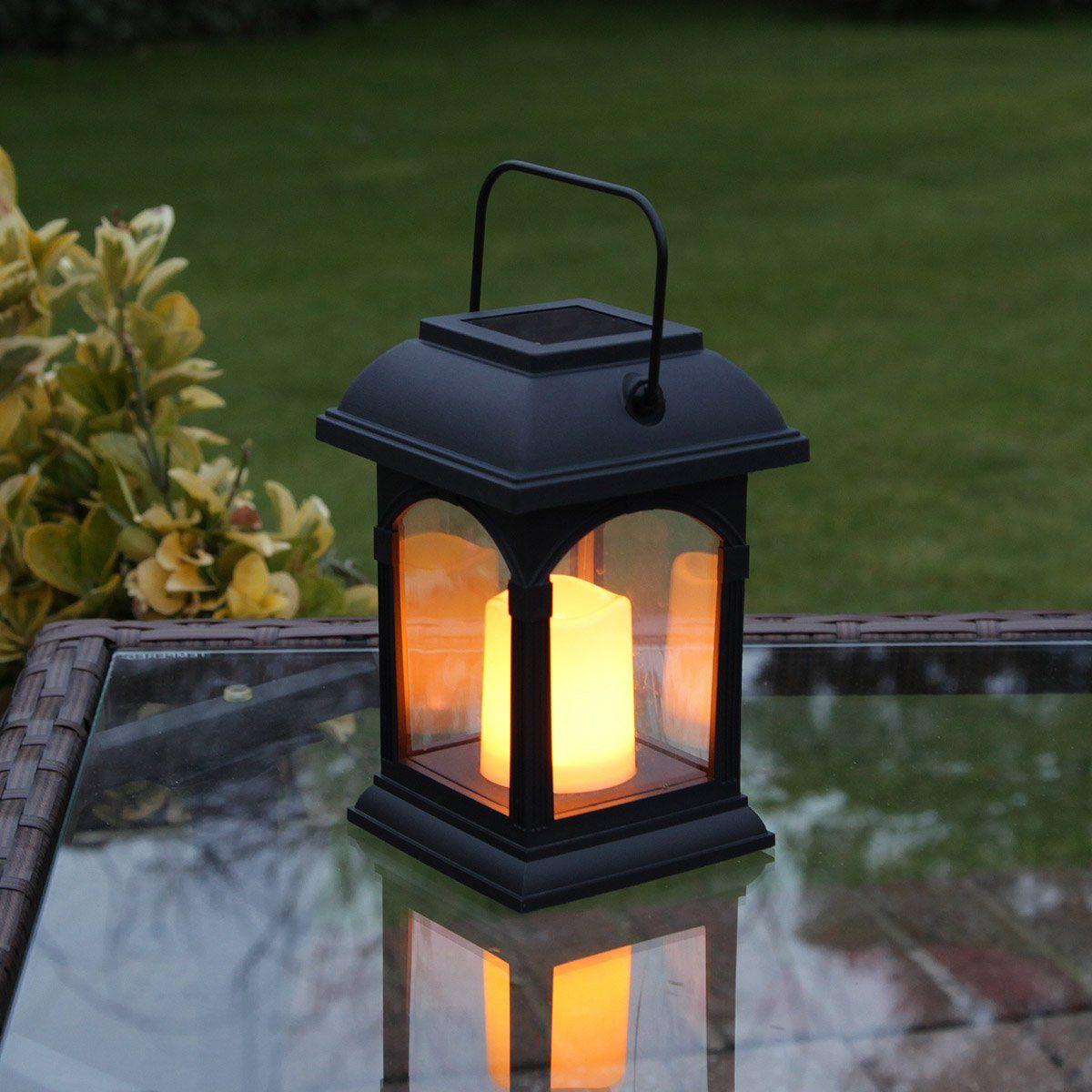 Garden Candle Lantern Solar Powered Flickering Effect