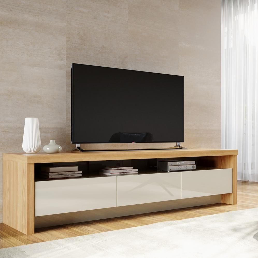 Off White Tv Meubel.Montana 85 43 Tv Stand In Nature Wood And Off White Furnitoday