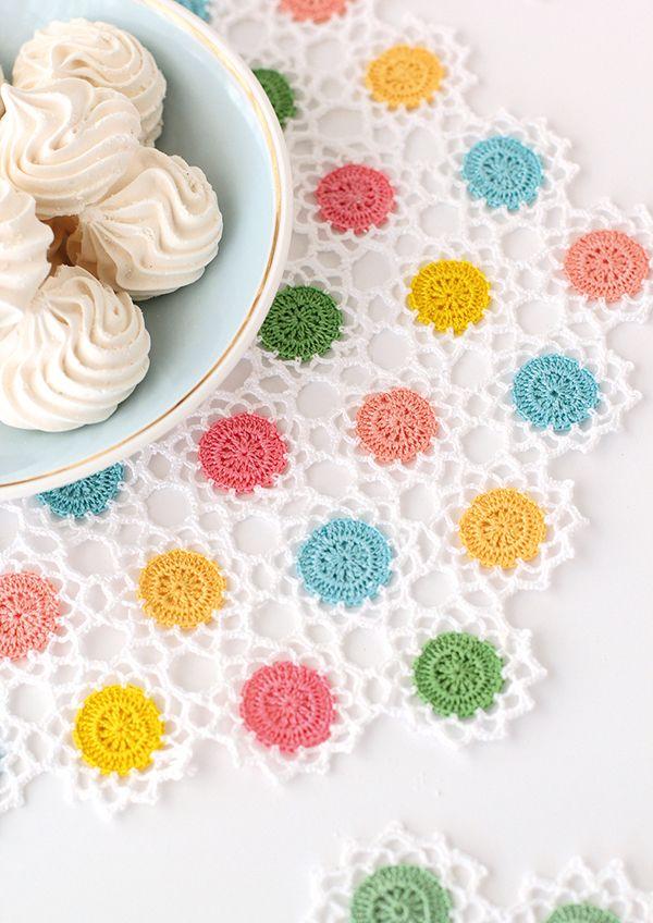 Candy-coloured crochet doily pattern | 크로셰 도일리 | Pinterest ...