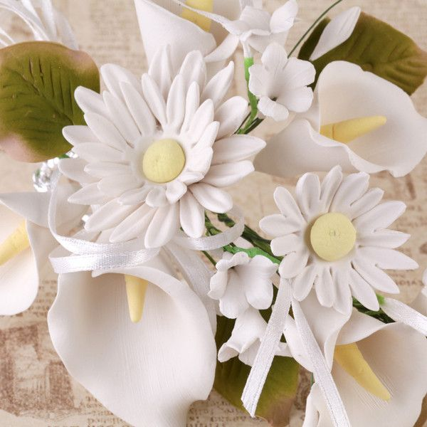 Daisy Calla Lily Sprays White Flower Cake Toppers Sugar Flowers Clay Flowers