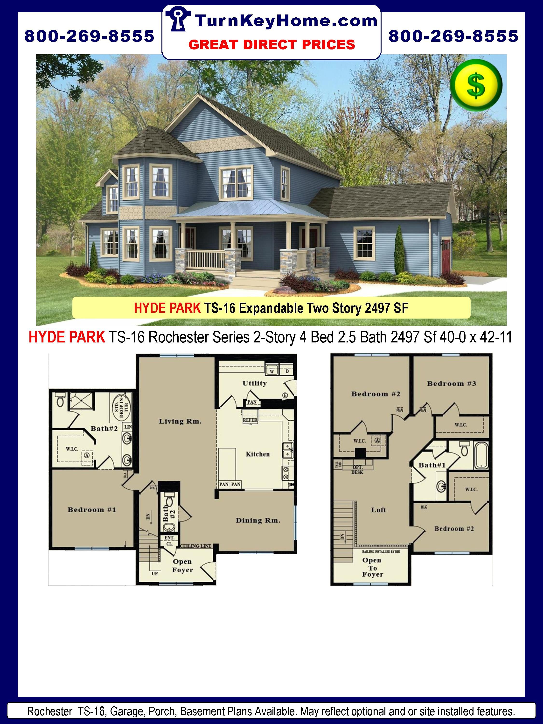 Hyde park ts 16 4 2 5 two story plan 2497 sf for Hyde homes floor plans