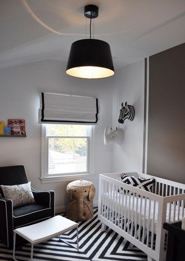 Stunning Baby Boy Nursery Room Design With Black White Striped Rug