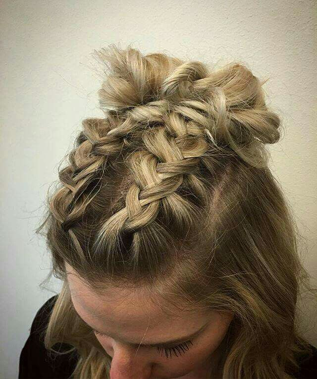 Half Up Half Down Space Bun Braid Braids For Short Hair Short Hair Styles Concert Hairstyles