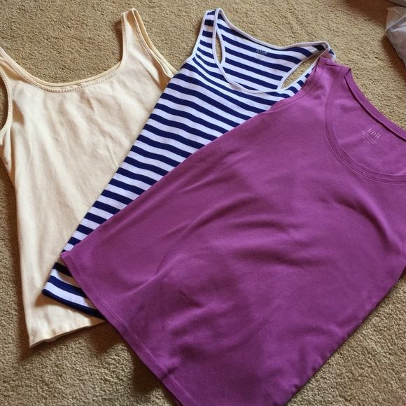 Tank bundle! All three are size Medium, in excellent condition! The two on the ends are J. Jill. The purple matches the dress with sweater I have listed and the yellow matches the yellow jeans I have listed. Tops Tank Tops