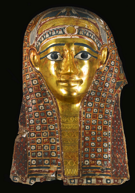 Egyptian Polychrome and Gilt Cartonnage Mummy Mask, Late Ptolemaic/Early Roman Period, C. Late 1st Century BC/Early 1st Century ADWearing a long richly decorated wig painted with a checkerboard pattern of rosettes, lotus and papyrus flowers, and...
