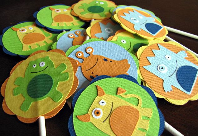 Little Monster Party  Cupcake Toppers  set of 12 di ScrapYourStory, $15,00