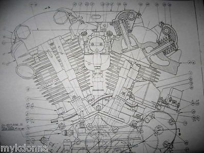 harley davidson 61ci knucklehead engine blueprint el hd poster print rh pinterest com