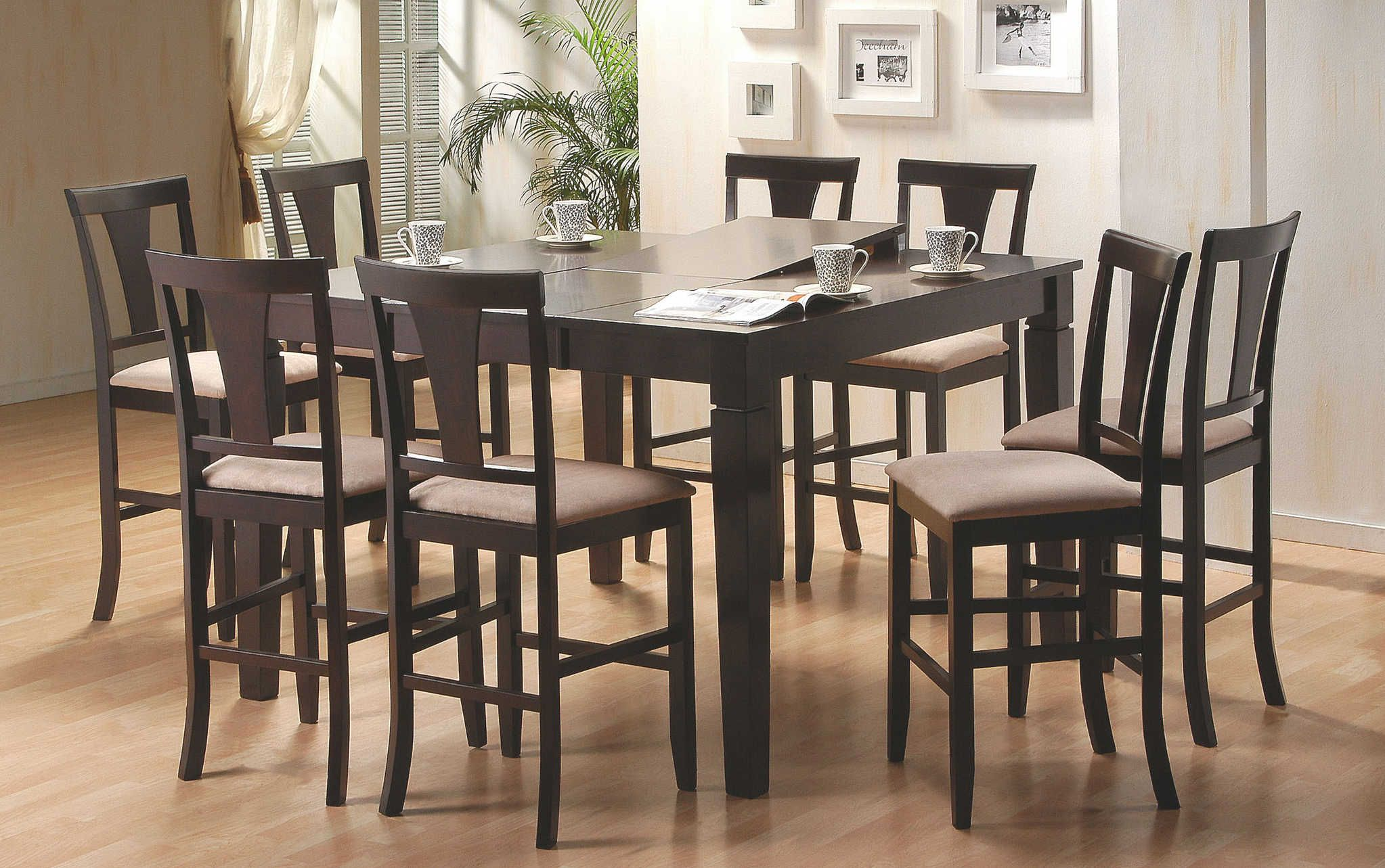 dark wood tall dining table contemporary gathering table dining room
