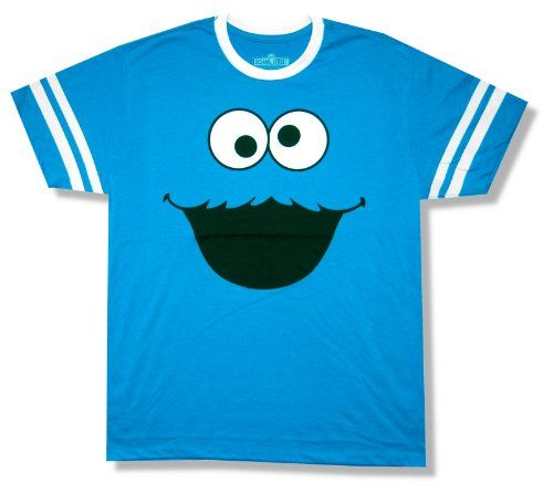 Bioworld Adult Sesame Street Cookie Monster Blue Ringer T Shirt With White Collar Printed Stripes Around Sleeves