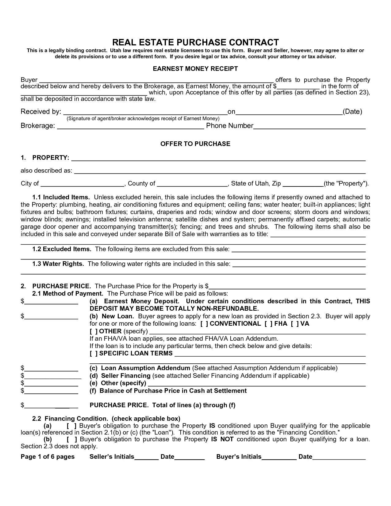 Real estate purchase agreement form sample image gallery for Private home sale contract template