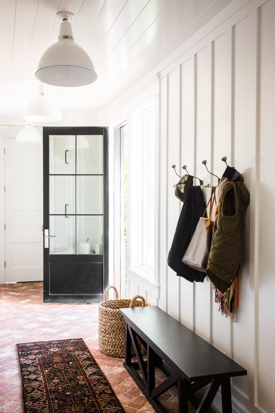 Hallway half wallpaper  Windsong Project Great Room Kitchen Mudroom  Mudroom Neutral