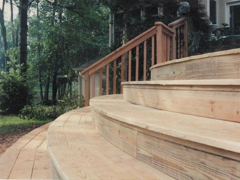 Rounded Deck Stairs.