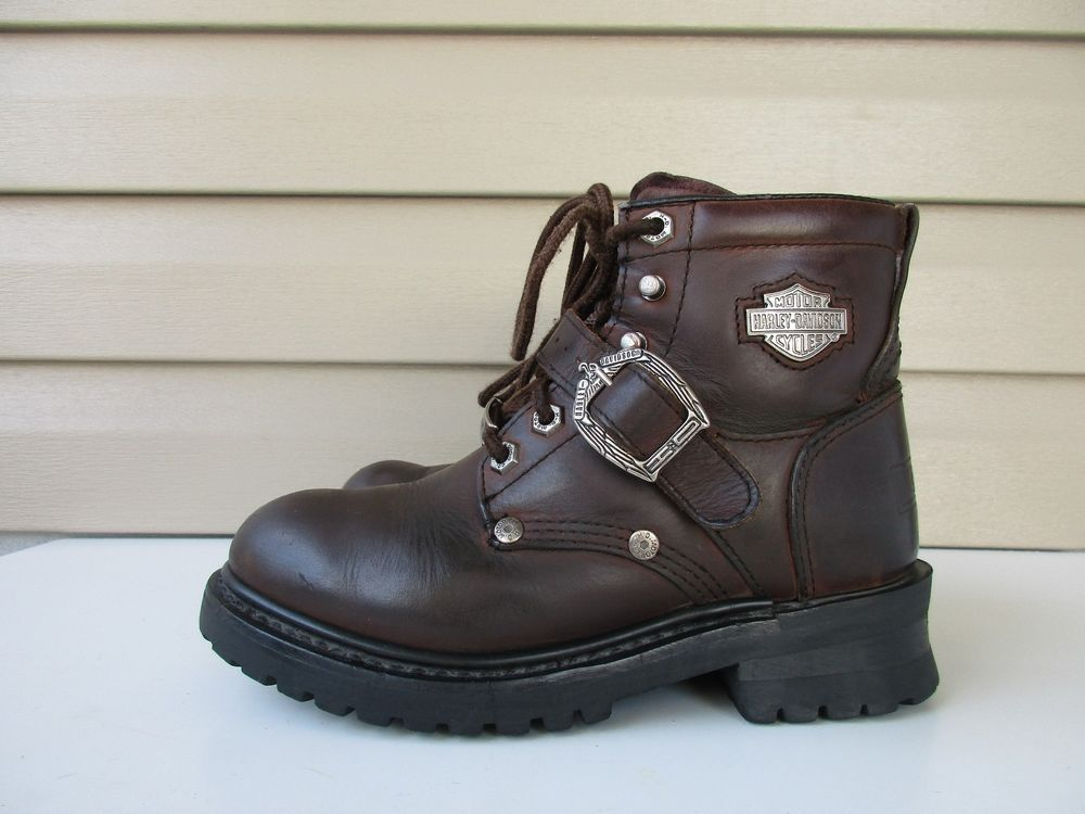 HARLEY DAVIDSON Womens Brown Lace Up