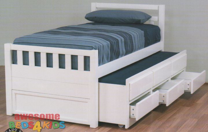 Best Cruise Captains Bed White Single King Single Trundle 400 x 300