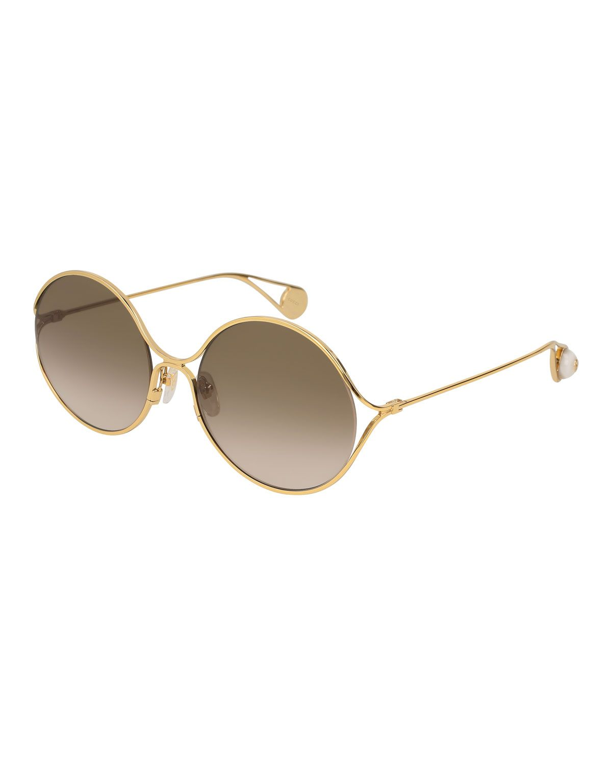 4bae3692a4 Round Forked Metal Sunglasses Gold Brown