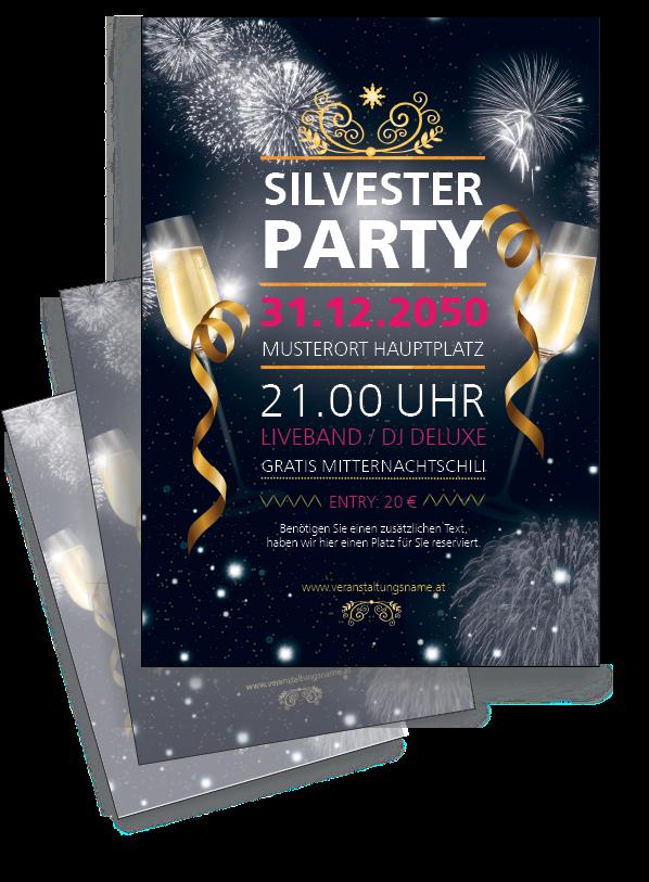 Geschmackvolle Und Moderne Flyer Drucken Lassen Onlineprintxxl Feuerwerk Silvester Party Sekt Vorlagen Flyer Flyer Drucken Silvester Party