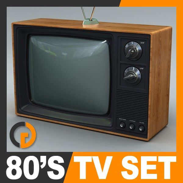 Retro Style 80's Television Set 3D Model