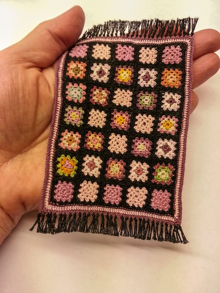 Photo Only A Miniature Granny Square Quilt Or Doll House Rug