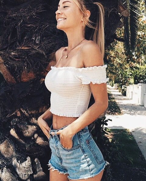 466b13c79bdb ... crop top with some short this outfit looks soo… Summer trends | Strapless  top, denim shorts