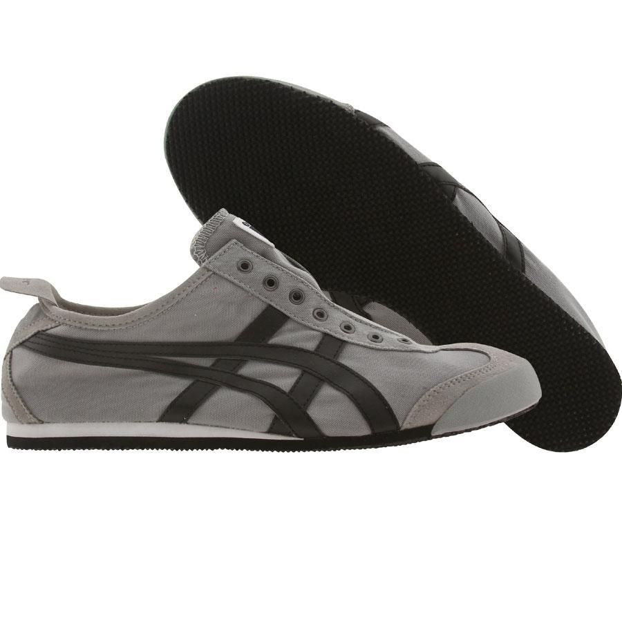 Asics Onitsuka Tiger Mexico 66 Slip On Cv Shoes In Grey And Black