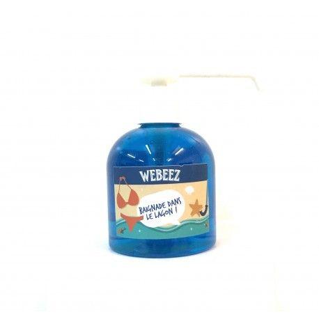 """Gel anti-bactérien Webeez """"baignade dans le lagon"""" version XXL pour le garder sur son bureau"""