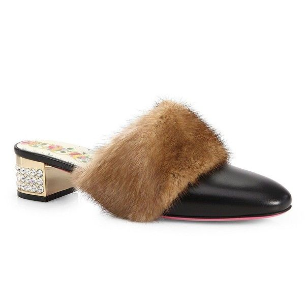 Gucci Crystal Candy Leather & Mink Fur Trim Mules VRhfVz