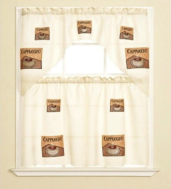 CAPPUCCINO COFFEE CUP EMBROIDERED TIERED KITCHEN CURTAIN BEIGE   60X36