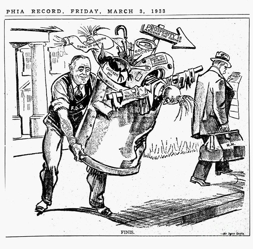 This Cartoon showcases what FDR did when he came into
