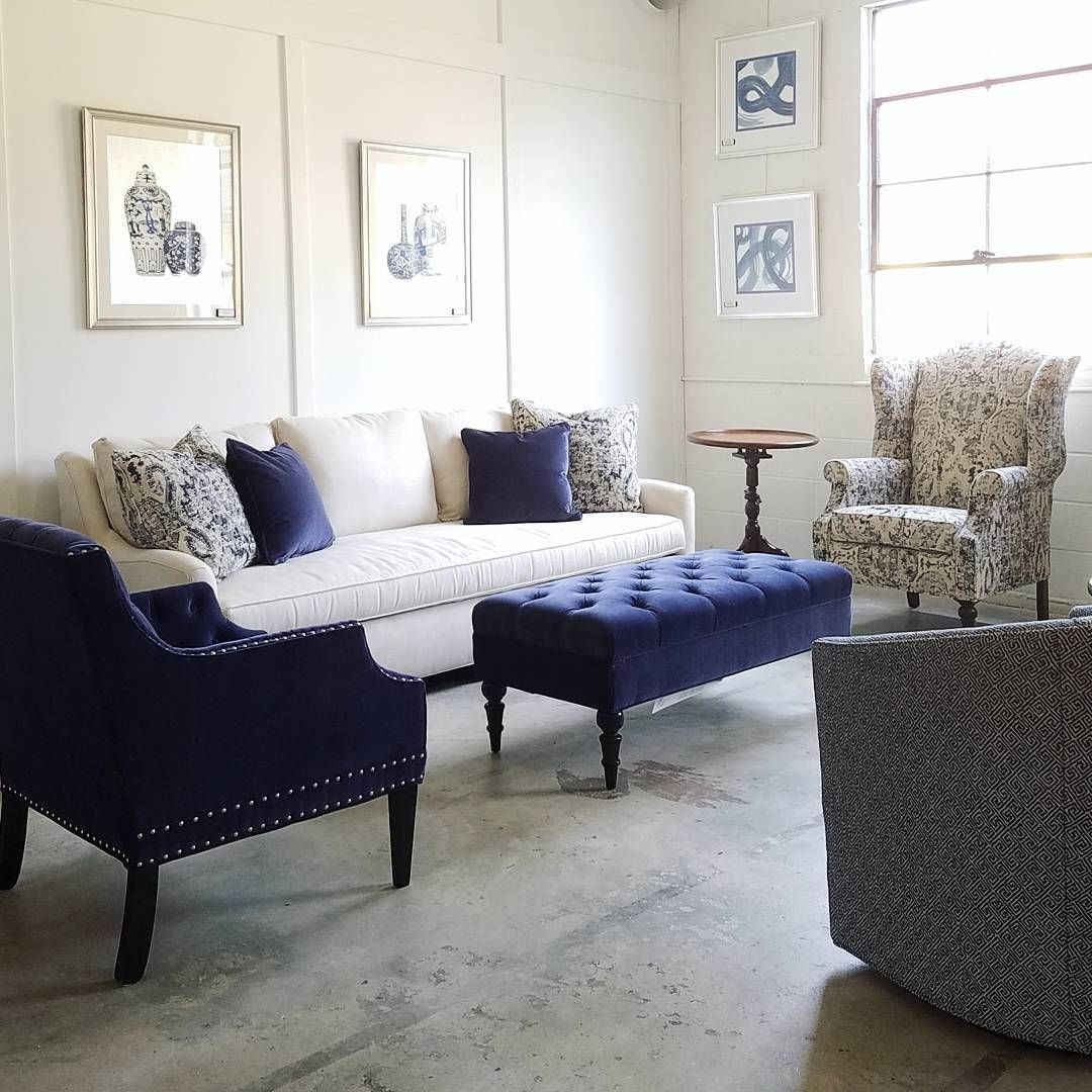 Love The Combination Of The Cream With The Navy Blue The Larue Sofa In Elsa Cre Cream Leather Sofa Living Room Leather Sofa Living Room Blue Living Room Decor