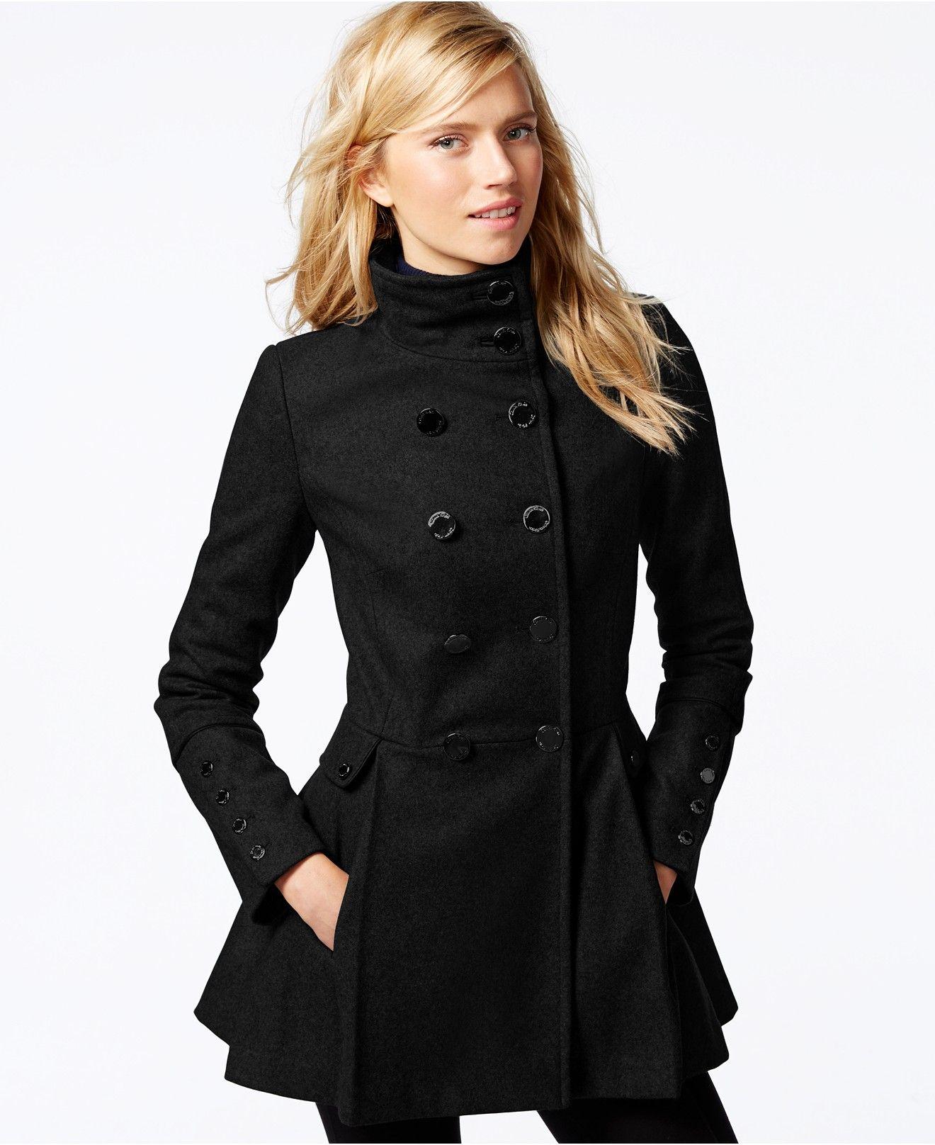 d206a6c215b Calvin Klein Stand-Collar Pleated Peacoat - Coats - Women - Macy s ...