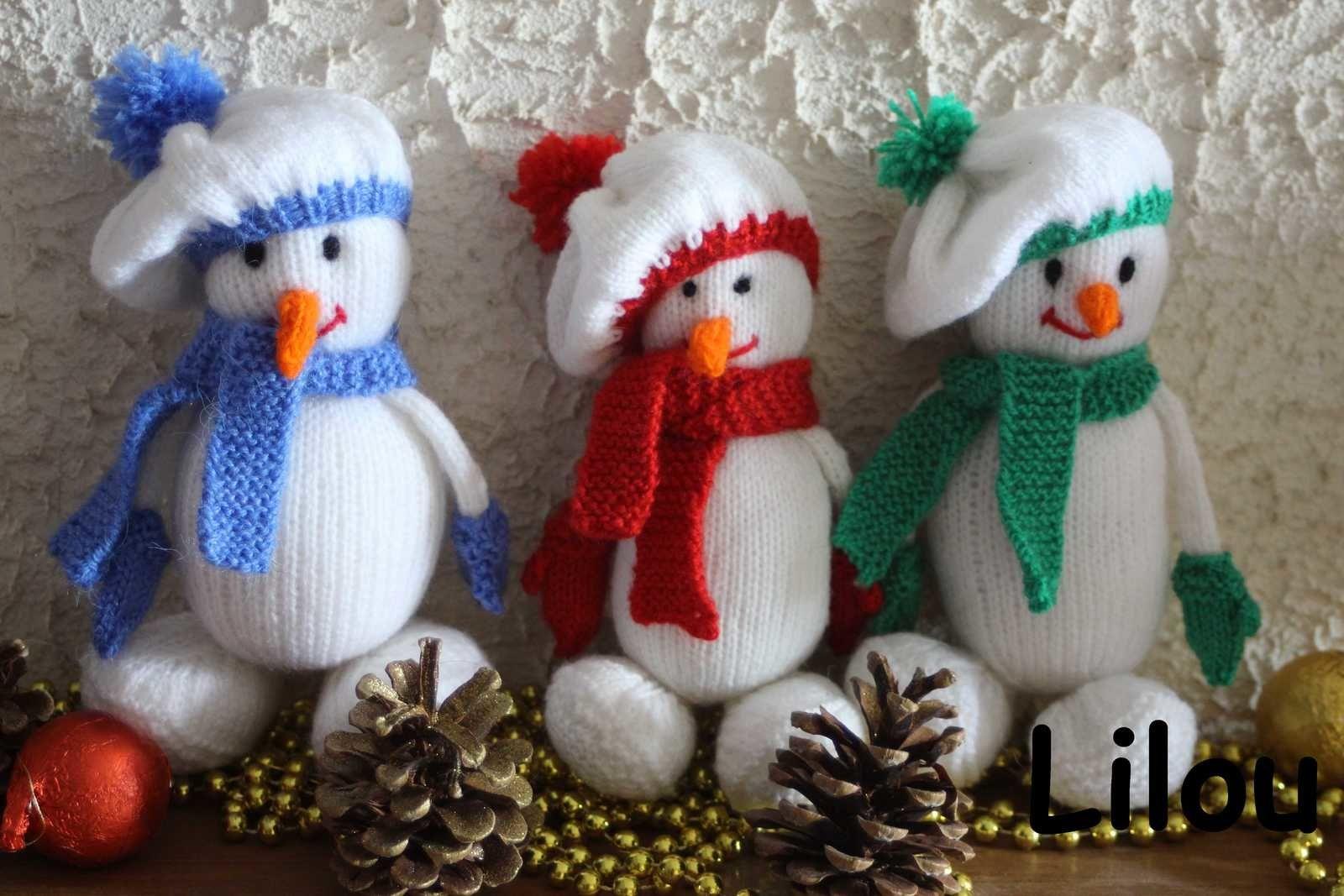 bonhomme de neige au tricot diy modele tuto gratuit tricot animaux doudous tuto gratuit. Black Bedroom Furniture Sets. Home Design Ideas