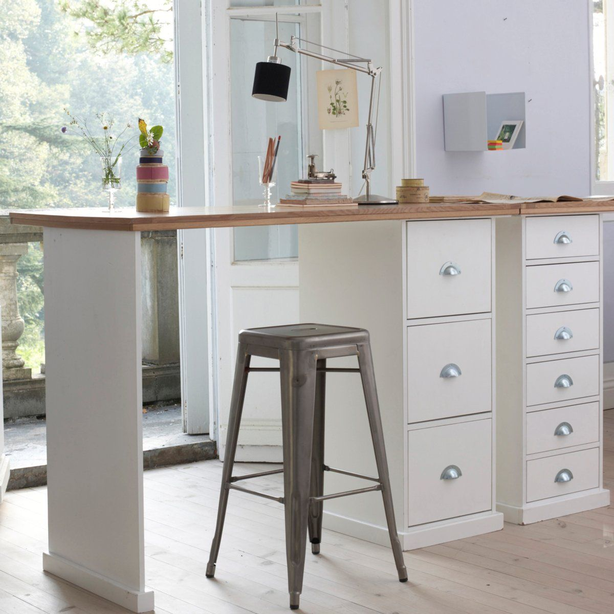 tall desk with storage, natural light and inspiring view.   bureau