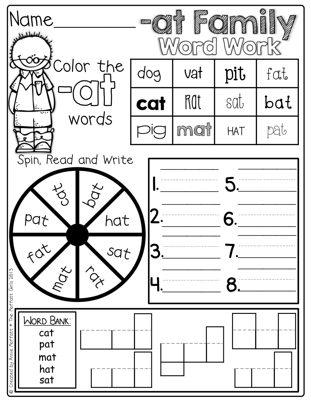 CVC Word Work! So many skills on one page...color the word, spin the ...