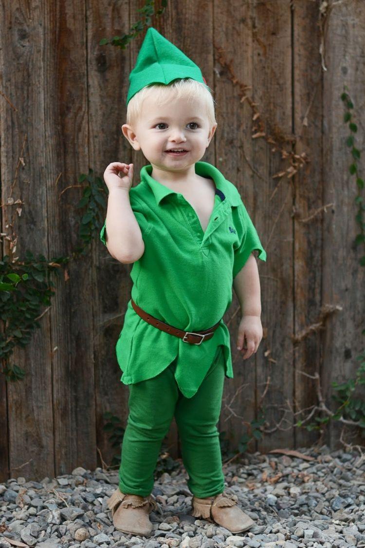 kinder fasching kostuem kleinkind-peter-pan-gruen-kleidung-shirt-mutze #toddlerhalloween