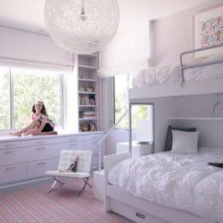 Cool White Theme with Bunk Beds and Long Storage in Kids Bedroom Designs