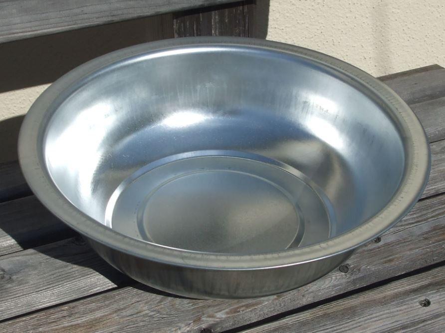 Metall Schüssel verzinkt Rund Ø 32 cm zum Dekorieren und Bepflanzen 4 Stück Set