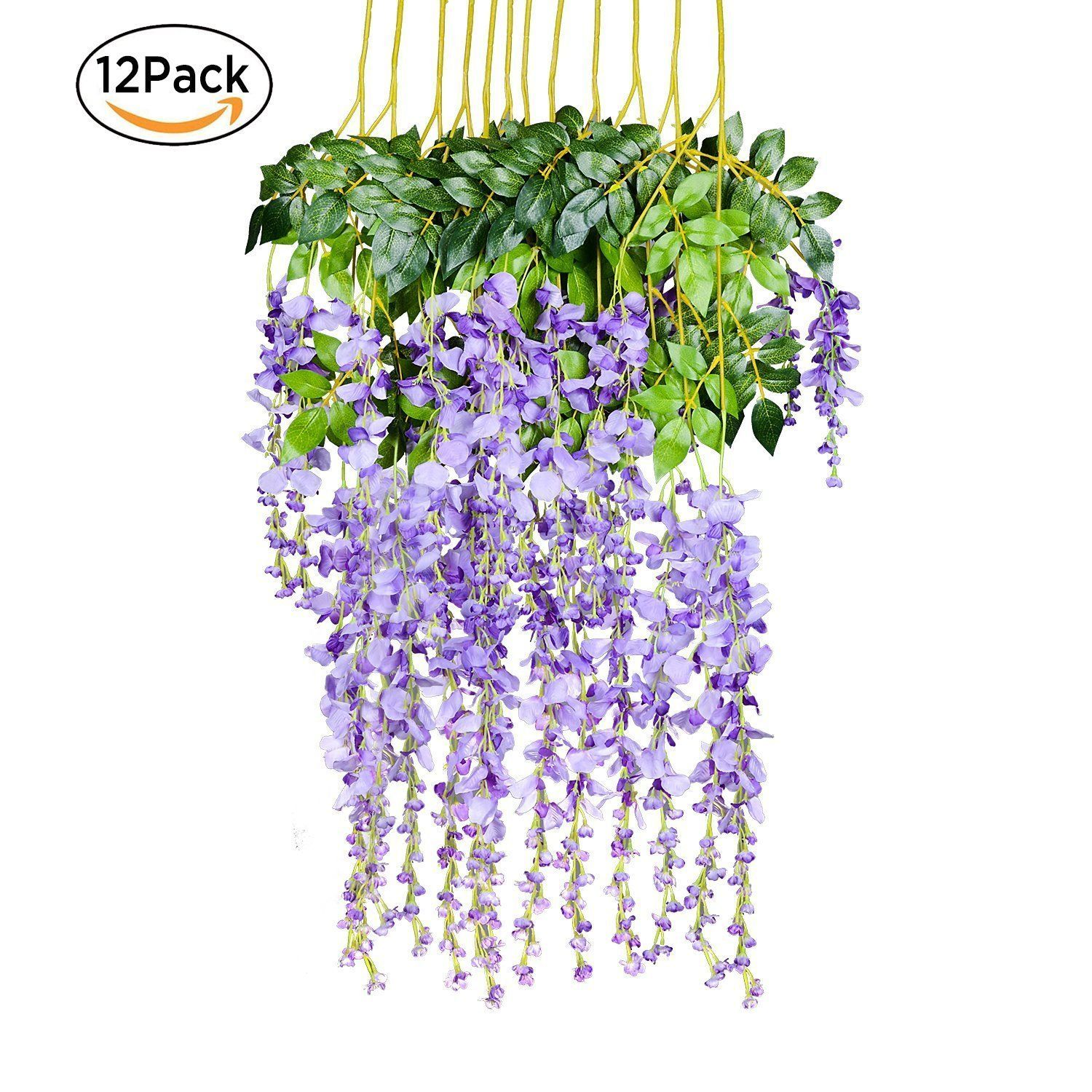 Artificial Wisteria Vine Flowers for Wedding and Home Decorations DIY Pack of 48