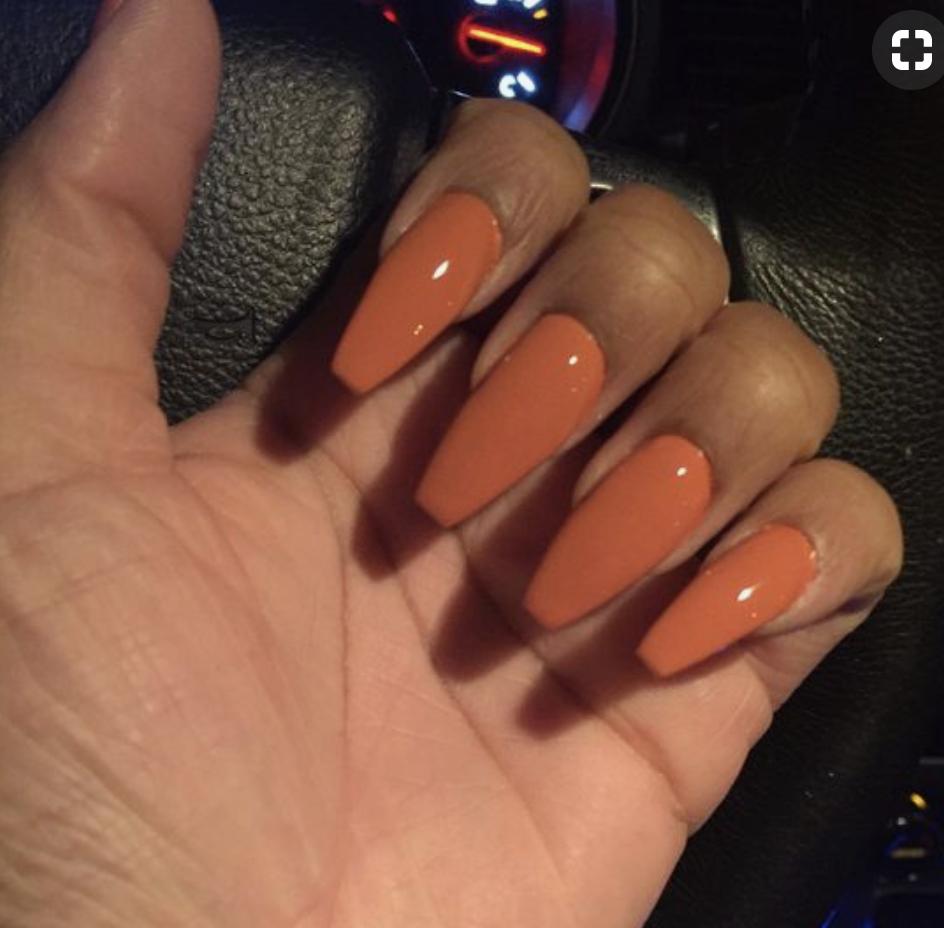 Pumpkin Orange Coffin Shape Acrylics Fall Acrylic Nails Acrylic Nails Nails