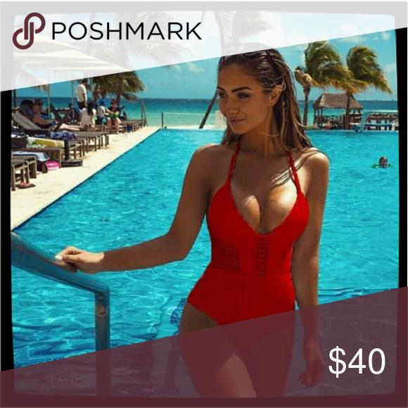4960fd03948 Brand new 2018 Red sexy monikini swimsuit One Piece Swimsuit Set Sexy Halter  Monokini Bathing Suit Hollow Out Beach Wear Push Up Swimwear Women  Avaliable in ...