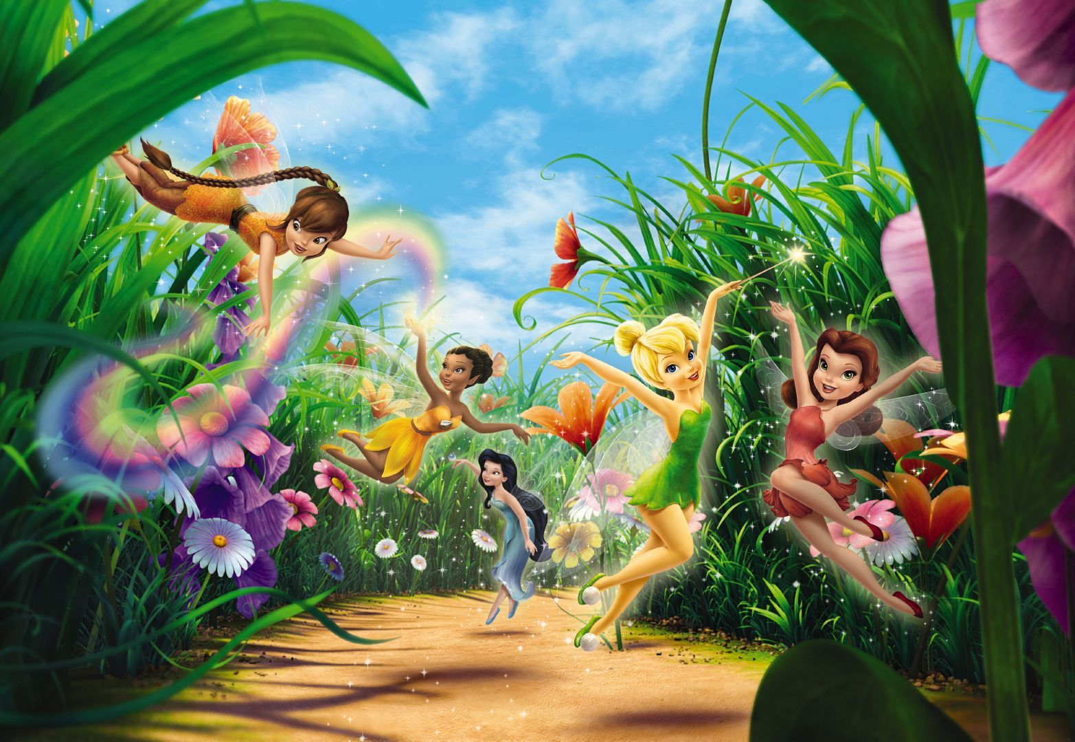 Di disney frozen wall murals - Wall Mural Photo Wallpaper Fairies In The Meadow For Bedroom Disney Tinker Bell Ebay
