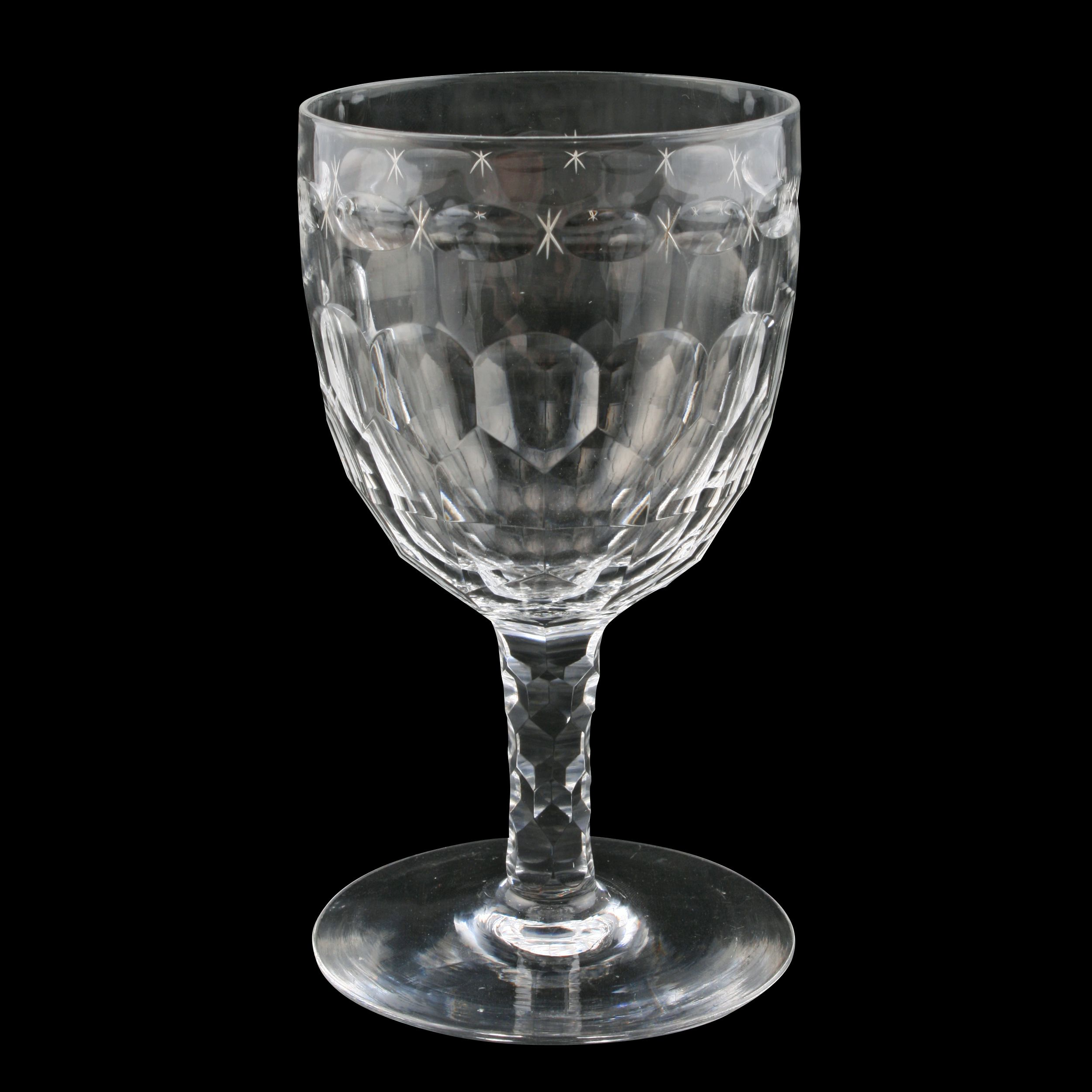 Antique Cut Crystal Wine Glasses or Water Goblets, set of 4