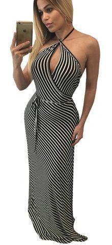 96a0bffcf8ea Club Dresses · Fashion Dresses · Bikinis · Free shipping!over 50% OFF  TODAY! Black White Stripes Sleeveless Halter Prom Dresses