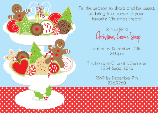 Christmas Cookie Exchange Invitation Wording Sweet Dessert Is