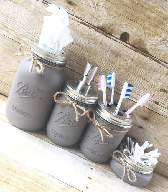Set of 4 Mason Jar Bathroom Set, Hand Painted Mason Jars, Mason Jar Soap Dispenser, Country Deocr, Housewarming Gift, Bathroom Decor images
