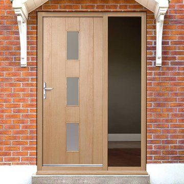 Copenhagen Oak Door With Frosted Double Glazing And Frame Set With