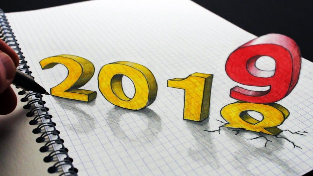 Happy New Year 2019 Drawing 2019 3d Numbers Trick Art How To Draw 2019 A Circle Line Art