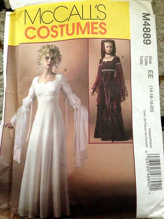 Medieval Dress Renaissance Costume Sewing Pattern Womens OOP | The ...