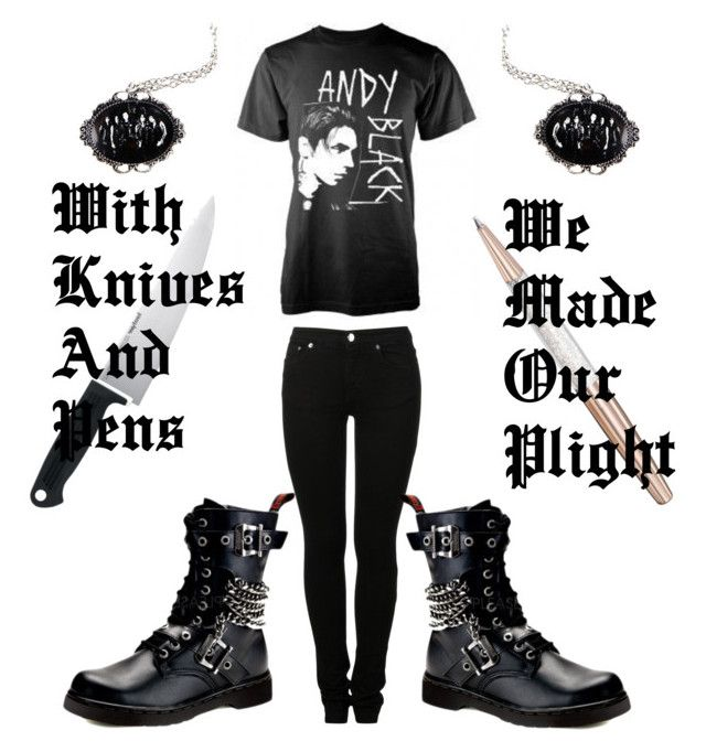 """""""Knives And Pens"""" by crimson6rose ❤ liked on Polyvore featuring Swarovski, MM6 Maison Margiela, Kershaw and Demonia"""