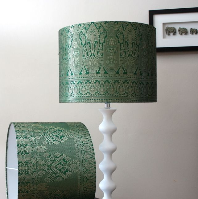 Handmade Drum Lampshade In Vintage Sari Fabric Emerald